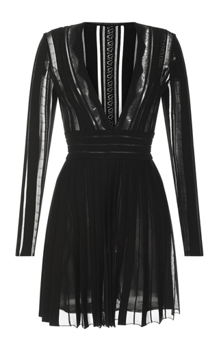 Medium zuhair murad black pleated cotton short dress