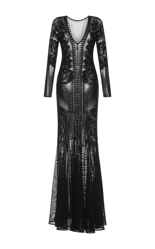 Medium zuhair murad black long sleeve rose knit gown