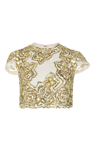 Medium zuhair murad white rose embroidered crop top