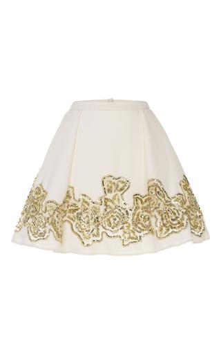 Medium zuhair murad white rose embroidered a line skirt
