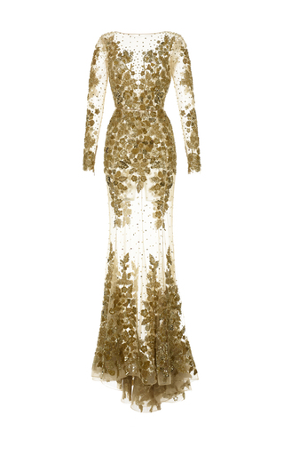 Medium zuhair murad gold floral embroidered long sleeve gown