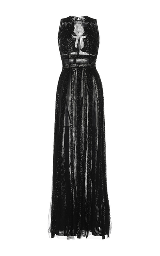 Medium zuhair murad black embroidered lace sleeveless gown