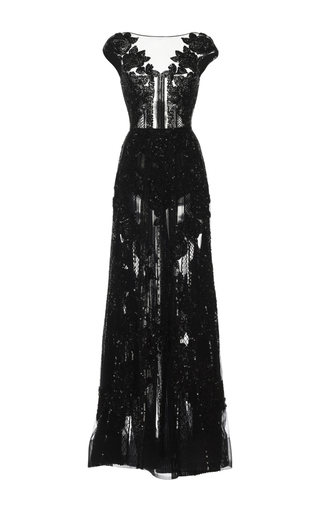Medium zuhair murad black floral embroidered cap sleeve gown