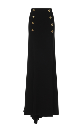 Medium zuhair murad black long crepe skirt with buttons