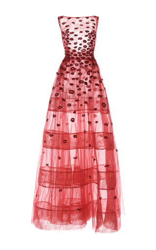 Medium zuhair murad red embroidered tulle and lace gown