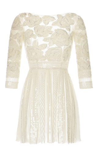 Medium zuhair murad white floral embroidered pleated short dress