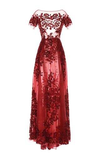 Medium zuhair murad red floral embroidered short sleeve gown