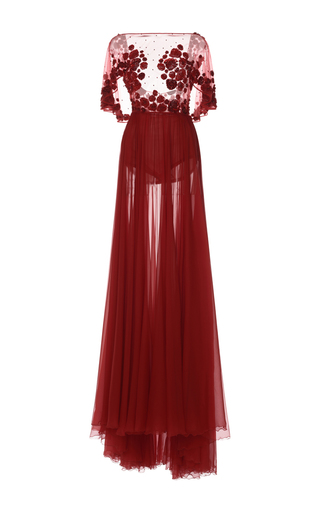 Medium zuhair murad red chiffon gown with embroidered cape