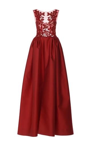 Medium zuhair murad red embroidered bodice mikado gown
