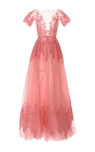 Medium zuhair murad pink lace applique short sleeve gown