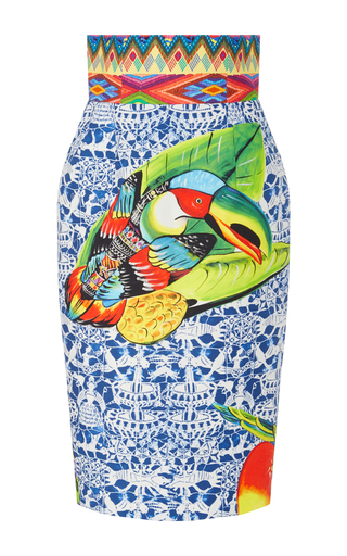 Medium stella jean multi pediatra embroidered printed pencil skirt