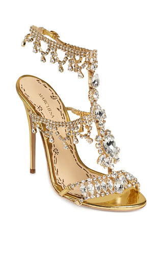 Medium marchesa gold crystal gold leather grace sandal