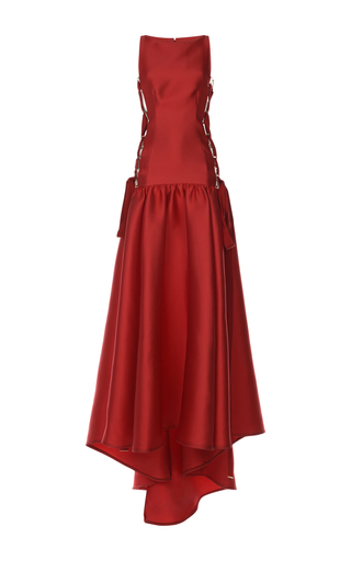 Medium zuhair murad red lace up fit and flare gown