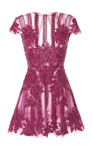 Medium zuhair murad pink floral embroidered cap sleeve short dress