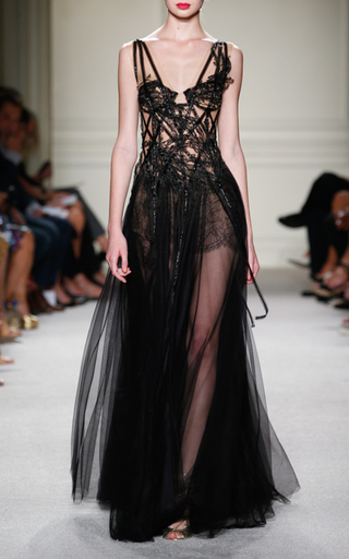 Medium marchesa black beaded lace motif gown