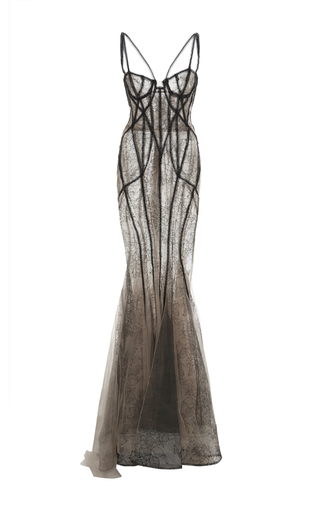 Medium marchesa tan beaded lace corset gown