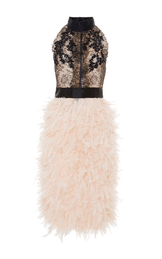 Medium marchesa black chantilly lace cocktail dress with feather skirt