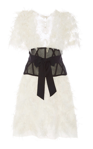 Medium marchesa ivory feathered embroidered a line dress