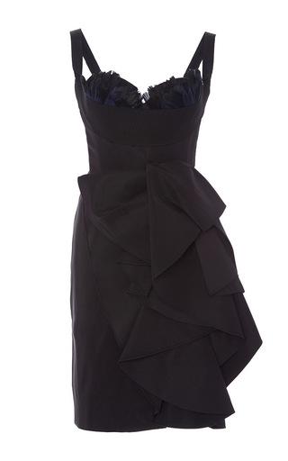 Medium marchesa black feathered bustier sculptural cocktail dress