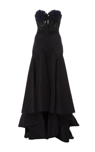 Medium marchesa black feathered corset gown