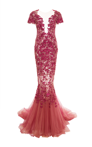 Medium marchesa pink floral threadwork embroidered fishtail gown
