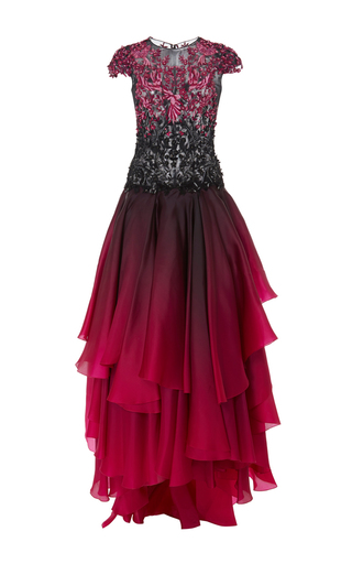 Medium marchesa pink ombre tea length layered gown
