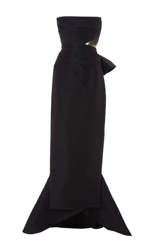 Medium marchesa black feathered silk faille cut out gown