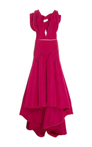 Medium marchesa pink high low silk faille gown