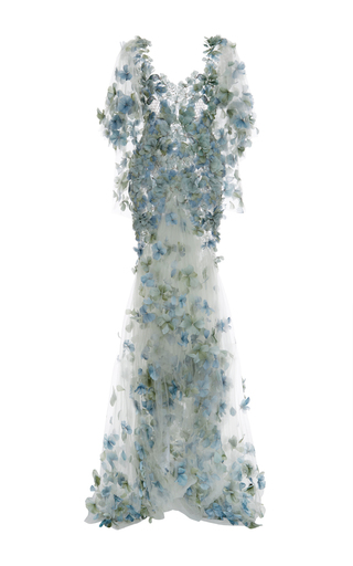 Medium marchesa blue embroidered botanical tulle gown