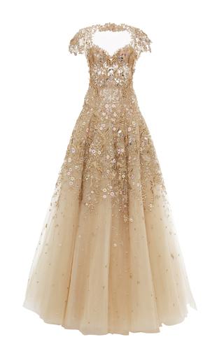 Medium marchesa tan laser cut tulle gown