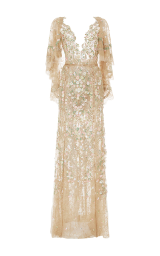 Medium marchesa tan embroidered chantilly lace tulle gown