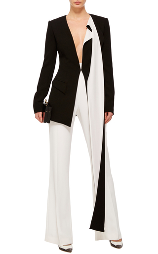 Long Blazer With Long Contrast Trim by PRABAL GURUNG Now Available on Moda Operandi