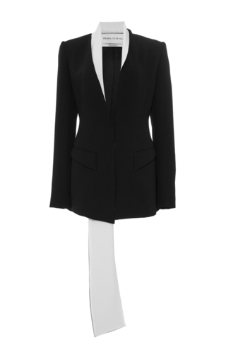Medium prabal gurung black long blazer with long contrast trim