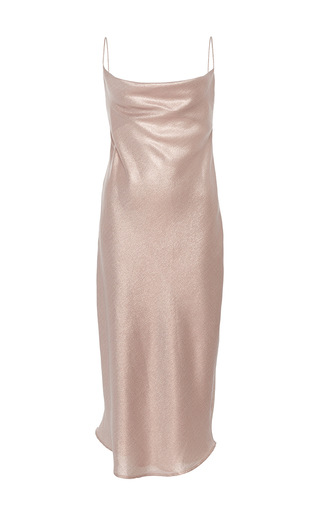 Medium kaelen light grey metallic lame slip dress