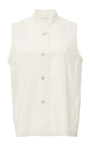 Medium trademark ivory cotton sleeveless scallop shirt