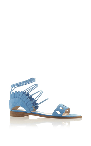Medium paula cademartori blue suede lotus flat sandal