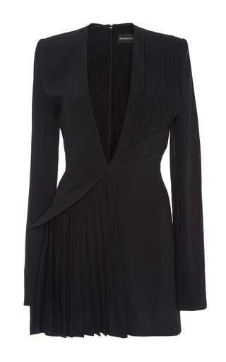 Medium brandon maxwell black pleated suit mini dress with wave waist