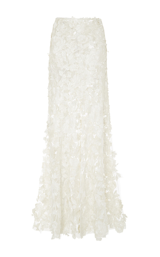 Medium adam selman white embroidered source long slip skirt