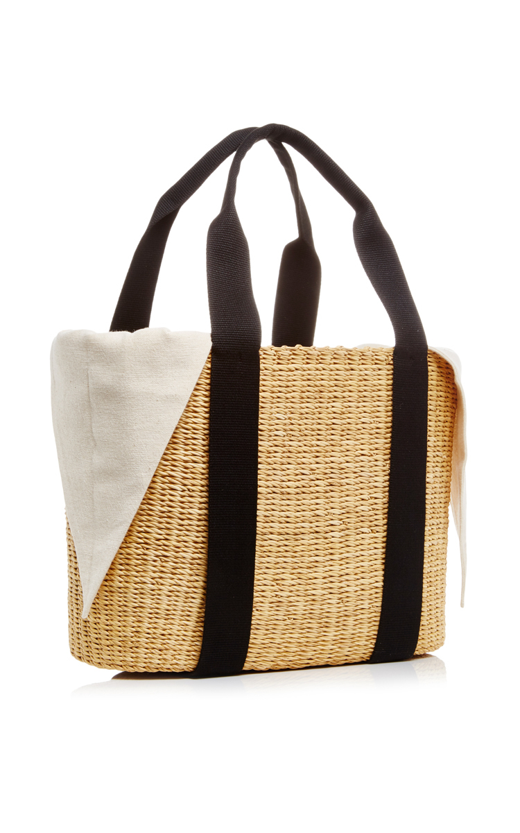 Caba Paper Straw Bag with Black Handle by Muun