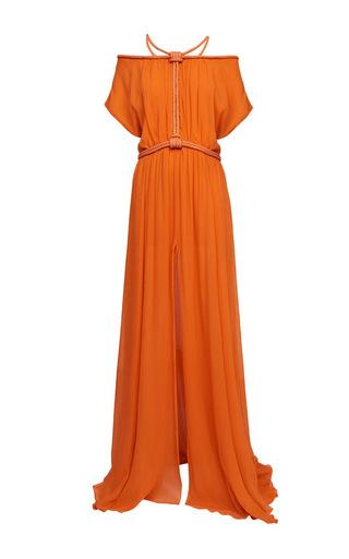 Medium jay ahr orange silk off the shoulder maxi dress