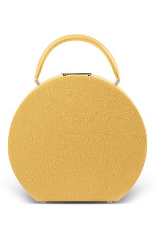 Medium bu wood yellow calf leather sun yellow bumi mini top handle bag