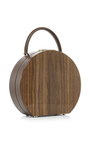 Walnut Wood & Chocolate Calf Leather Bumi Mini 22cm Top Handle Bag by BUWOOD Now Available on Moda Operandi