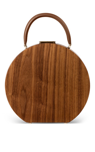 Medium bu wood brown american walnut wood bumi 26 top handle bag