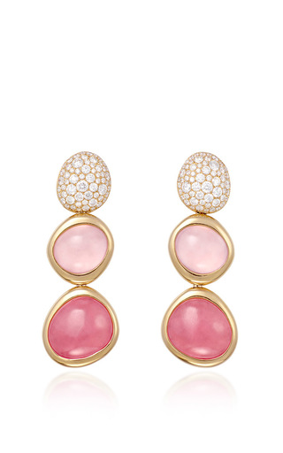 Medium fred pink belles rives earrings in pink gold with white diamonds rhodocrosites and pink quartz