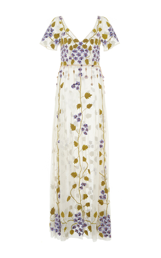 Medium luisa beccaria ivory cornely violet embroidered tulle dress