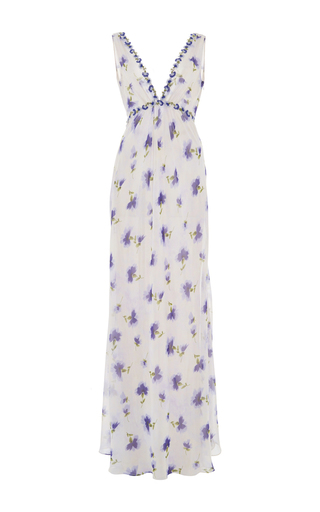 V Neck Floral Dress by LUISA BECCARIA Now Available on Moda Operandi
