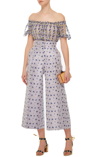 Off The Shoulder Blue Blouse by LUISA BECCARIA Now Available on Moda Operandi
