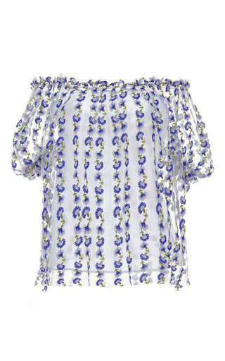 Medium luisa beccaria blue off the shoulder blue blouse