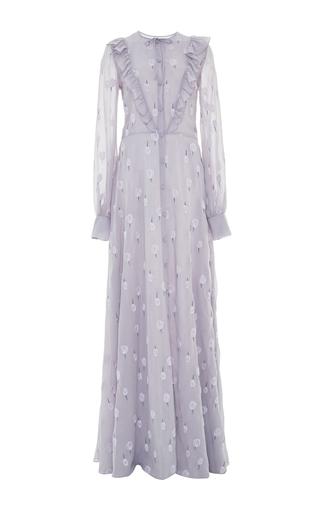 Medium luisa beccaria blue ruffled georgette dress