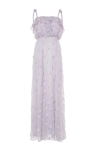 Medium luisa beccaria blue sleeveless ruffled dress